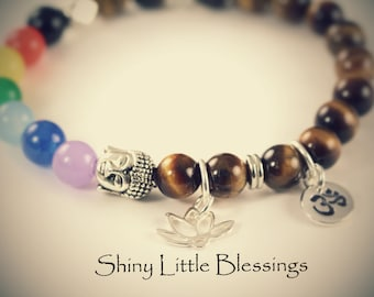 7 Chakra Bracelet, Lotus Bracelet, Tiger Eye Bracelet, Ohm Buddha Yoga Spiritual Jewelry