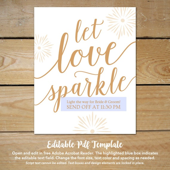 Let love sparkle sign template gold wedding signs printable let love sparkle sign template gold wedding signs printable printable wedding send off sign printable wedding templates pronofoot35fo Image collections