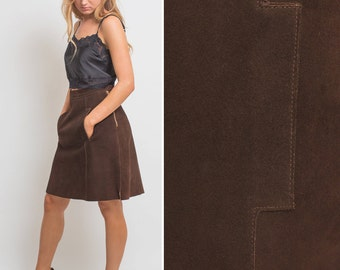 SUEDE skirt vintage skirt BROWN skirt brown suede skirt knee length skirt 70s skirt 70s suede skirt leather chocolate brown skirt high waist