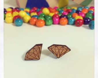 Laser Cut Wooden Diamond Earrings