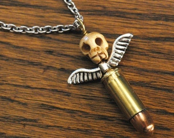Bullet Totem Necklace - Hand Carved Bone Skull, Antiqued Brass Bullet Necklace With Antique Silver Eagle Wings - Rocker Necklace