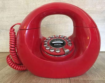 Red Donut Phone, Vintage Donut Phone, Mid Century Phone, Retro Phone, Vintage Phone, Handbag Phone