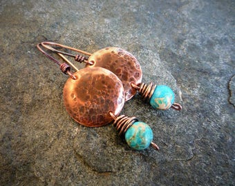 Hammered copper earrings, Boho jewelry, Circle earrings, Textured copper, Imperial Jasper earrings, Artisan jewelry, Sea sediment jasper