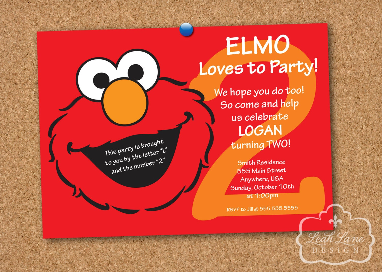 Elmo Birthday Invitation Elmo Birthday Party Sesame Street