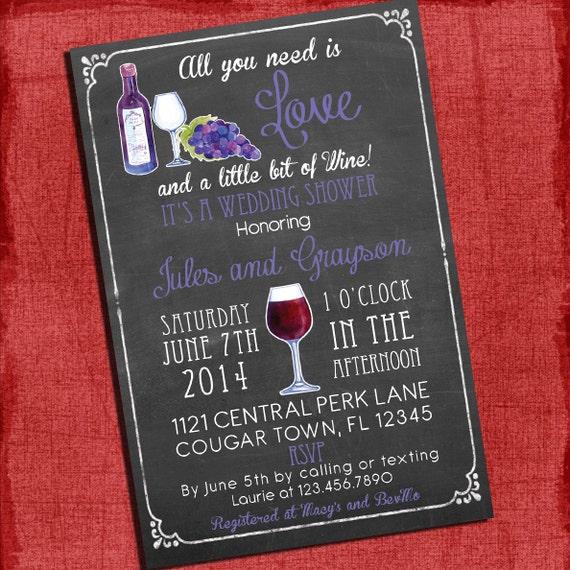 Printable Wine Theme Couples/Coed Wedding Shower Invitation I