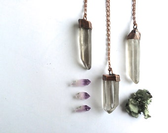 Large crystal necklace | Large raw crystal necklace | Raw mineral necklace | Rough quartz crystal pendant | Raw gemstone jewelry
