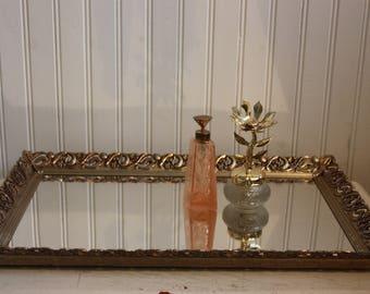 Vintage Large Vanity Mirror, Rectangle, Vanity Mirror Tray, Large Rectangle Dresser or Vanity Mirror, Ladies Vanity or Dresser Mirror Tray