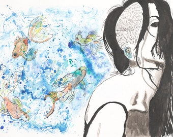 Fine Art Print Giclee Watercolor and Ink woman with fish