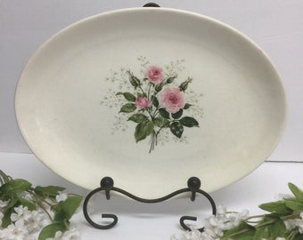 Sabin china serving plate, cottage chic plate, roses plate,serving plate, party plate, oval plate, tea party plate, pink roses tray plate,