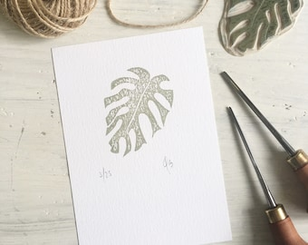 monstera leaf plant print - limited edition - monstera - plant lover - house plant - stationery addict