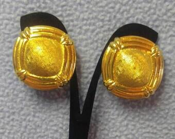 """Goldtone Mesh Shield Clip Earrings 1 1/8"""""""