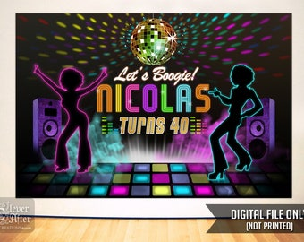 Disco Backdrop 70's Retro Dance Party poster Neon glow disco ball birthday cake table backdrop retro dancers banner disco night dance floor