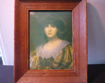 Portrait of a Lady- Bubble Glass with Wooden Frame - Burne-Jones - collectible Victorian rare antique frame domed glass vintage medium