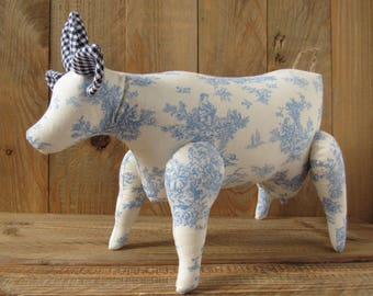 Tilda cottage, cow art, country home decor, Toile de Jouy, blue white decoration, country style, collectors item, gift idea for cow lovers
