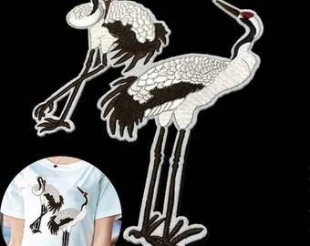 x 1 large applique badge patch embroidered bird crane Stork 26 x 17.5 cm @B2 fusible