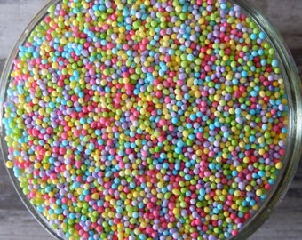 Sprinkles, 6 oz - Mini Pastel Nonpareils Rainbow Mix - for Cupcakes - Cake Pops - Donuts - Chococlate Dipped Pretzels, Strawberries, Cookies