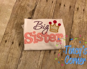 BIG Sister with Crown Appliqued Ruffle Shirt