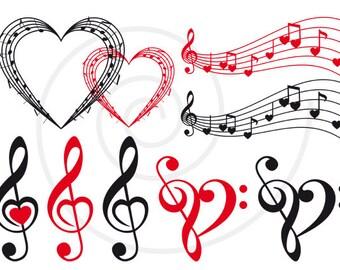 Music digital clip art set, music heart, musical notes, digital scrapbooking, collage, commercial use, png, JPG, EPS, SVG, instant download