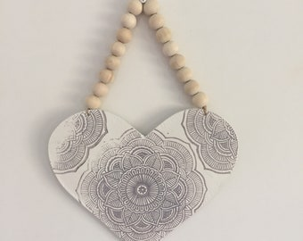 Large clay heart wall hanging
