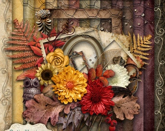 AUTUMN WHISPERS - Digital Scrapbooking Kit - 15 Papers and 60 Plus Elements -4.75