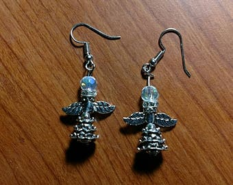 Angel Christmas tree dangle earrings.
