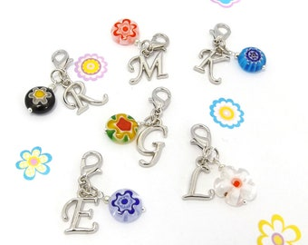 Traveler Notebook Charms, clip on initial charm to personalise necklaces and bracelets, letter planner charm