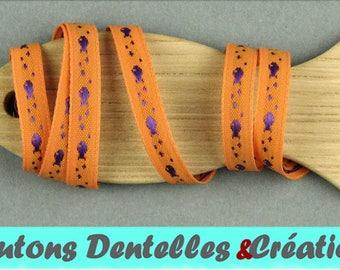 Sailor stripe woven - fish - 7mm - 5 m - (Orange and purple-07-01)
