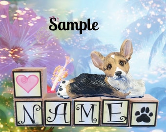 Tri Color Pembroke Welsh Corgi PERSONALIZED with your dog's name on blocks by Sally's Bits of Clay