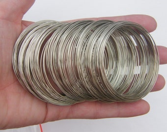 200 Loops memory wire 50 - 55mm silver tone 09062