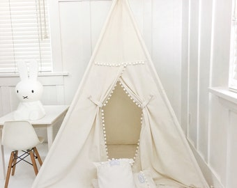 Handmade Teepee Play tent for Kids in Natural Unbleached Cotton Canvas with Pom Pom trim. Comes with Padded Mat Base and Two Pillows
