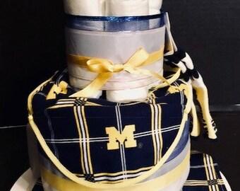 University of Michigan / U of M Baby Diaper Cake