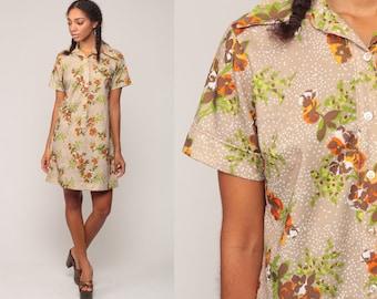 70s Mini Dress 60s Shift Mod Floral Shirtdress Hippie Boho Button Up Short Sleeve Vintage 1970s Flower Power Light Brown Large