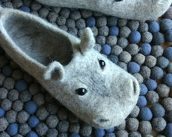 hippo slippers, wool felted slippers hippopo with rubber soles, for women
