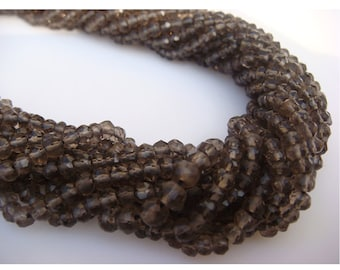 Smoky Quartz, Micro Faceted Rondelle Beads - 13 Inch Strand - 3mm Each