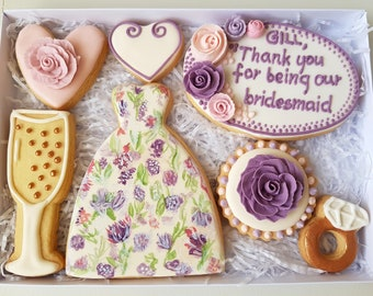 Maid of Honour/ Bridesmaid gift/ Personalised Cookies/ Wedding favours/ Bespoke biscuits/ Wedding gift box/ Hand decorated cookies/ Unique