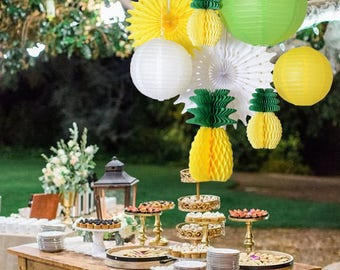 Summer party honeycomb pineapple ball tropical Hawaiian party festival paper lantern paper fan decoration