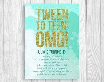 SALE Custom Printable 5x7 Tween To Teen Girl's 13th Thirteen Birthday Party Invitation - Mint Teal Watercolor & Gold Glitter - Digital