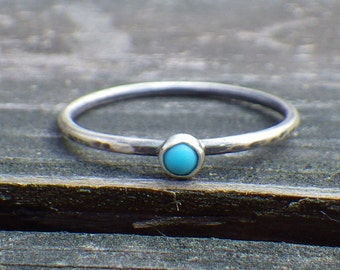 Tiny turquoise ring / Sleeping beauty turquoise sterling silver ring / gift for her / boho ring / stacking ring / minimalist ring