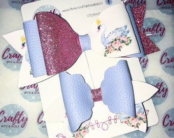 Swan princess blue pink glitter white floral hairbows