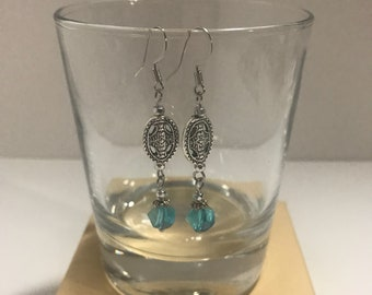 Aqua Cut Glass Dangle Earrings