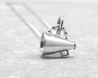 Cheer Necklace, Sterling Silver Jewelry, Megaphone Necklace, Cheerleader Necklace, Cheer Jewelry, Charm Necklace, Cheerleading Necklace