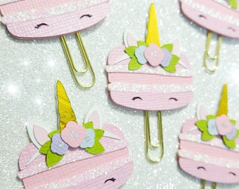 """Paperclips / paperclip / bookmark """"Macaroon Unicorn"""", planner decoration"""