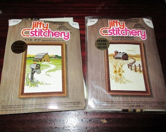 Pair Vintage Jiffy Stitchery Kits Summer Wheat 816 and R.F.D. #1 Nancy Overton Complete and Ready to Stitch
