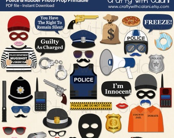 Police and Robbers Party Photo Booth Prop, Police and Robbers Themed Party Printable, Police and Robbers Themed Photo Prop