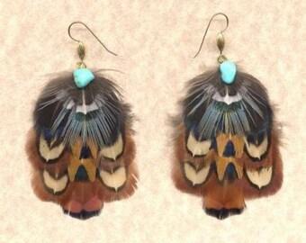 CUSTOM Handmade Pheasant Feather Earrings - EAGLE Design