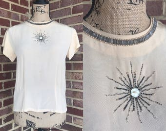 Vintage 1940s champagne colored rayon short sleeved rayon blouse