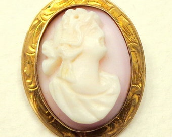 10k Gold Victorian Cameo, Antique, Hand Carved, High Relief, Baby Skin, Pink Conch Shell Cameo, Brooch/Pendent, Italian Cameo