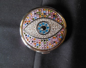 Vintage Multi-Colored Rhinestone Eye Solid Perfume Compact with Mirror