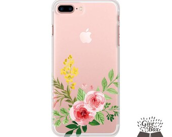 Floral iPhone 7 Case Clear, iPhone 7 Plus Case Rose flowers, iPhone 6S Case Flower, iPhone 6S Plus Case Floral, iPhone X case, iPhone 8 case