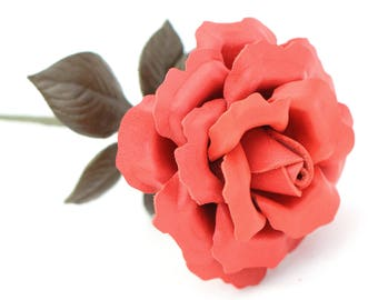 Leather Rose Coral Orange Leather Flower Third Wedding Anniversary Gift Long Stem Leather Rose Flower Valentine's 3rd Leather Anniversary